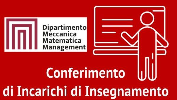 Bando di Selezione n. 8 per il Conferimento di Incarichi di Insegnamento Afferenti al DMMM A.A. 2020/2021